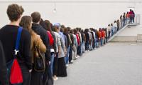 Een rij met mensen